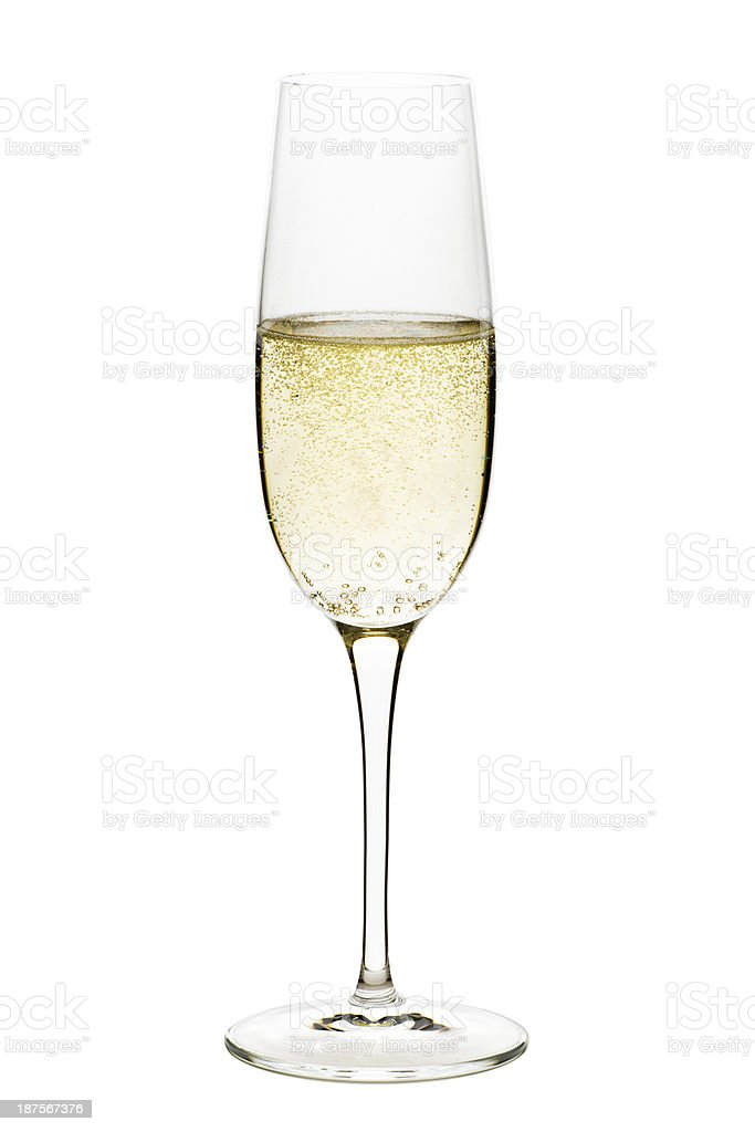 Champagne Flute Glass Isolated on White Background stock photo