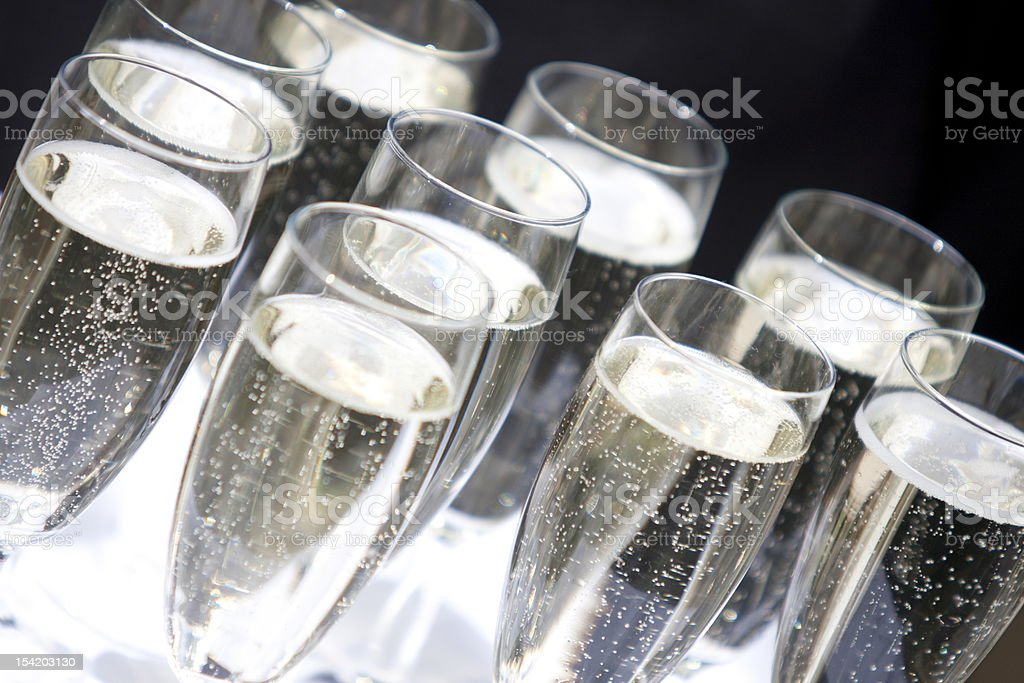 Champagne Flutes being Served royalty-free stock photo