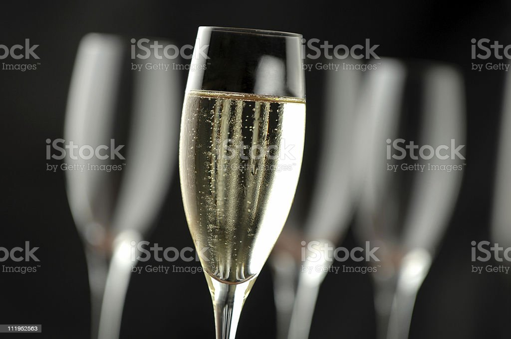 Champagne Flutes on Black royalty-free stock photo