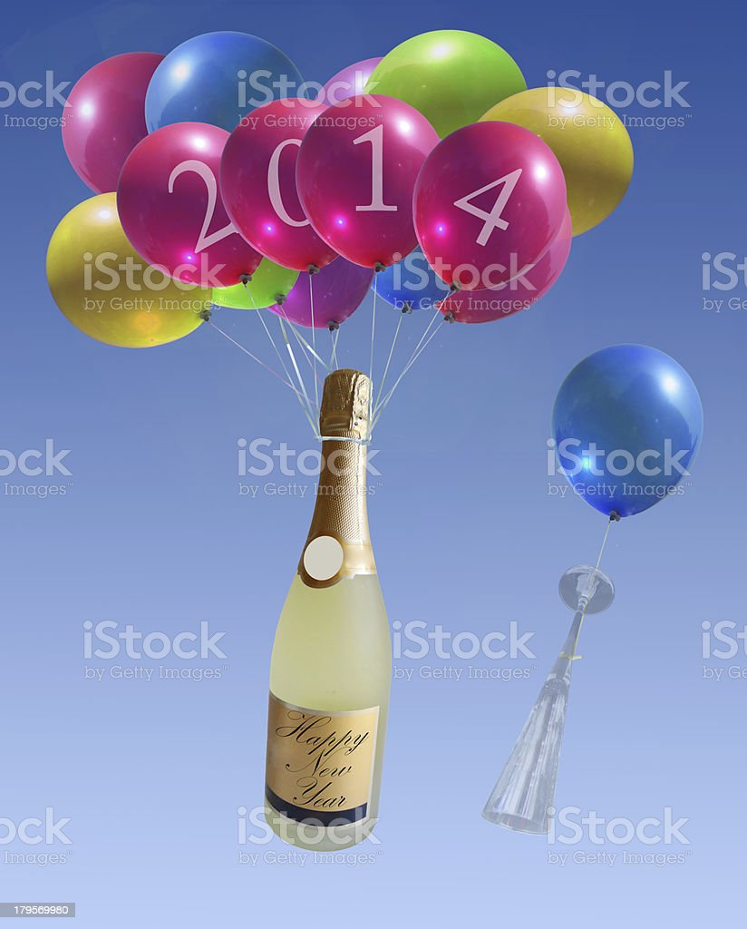 champagne fly in balloons nwe year 2014 royalty-free stock photo