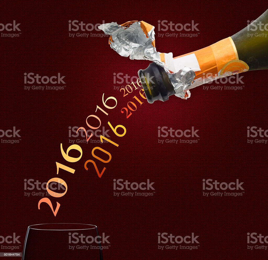 Champagne for New Year 2016 stock photo