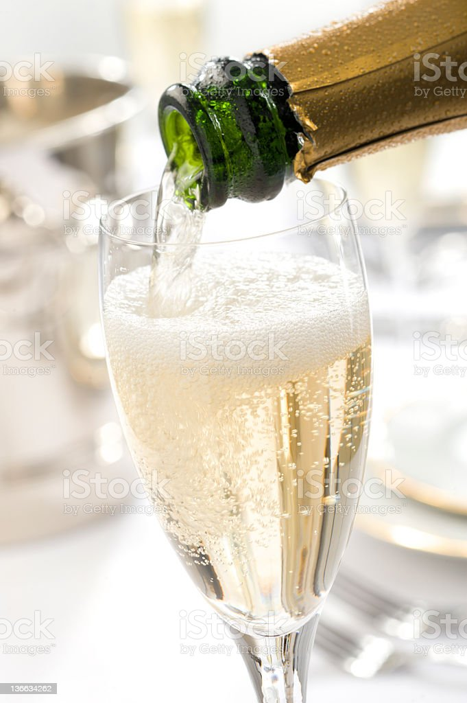 Champagne Pour stock photo