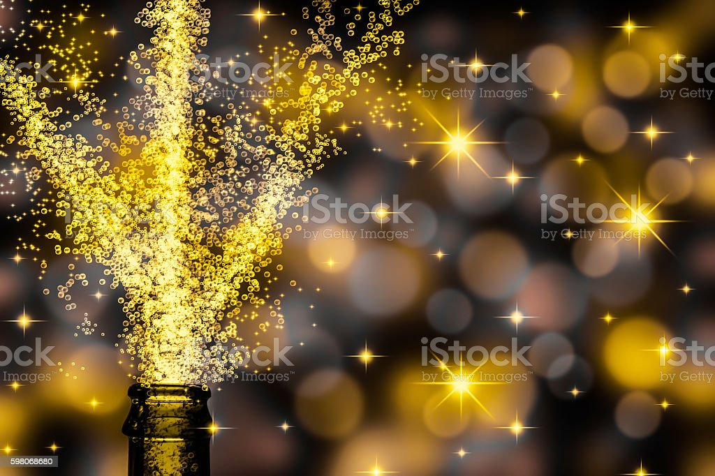 champagne fountain from bottle stock photo