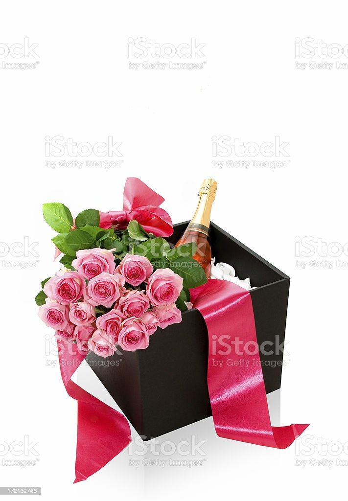 Champagne Gift Box with Boquete of Roses royalty-free stock photo