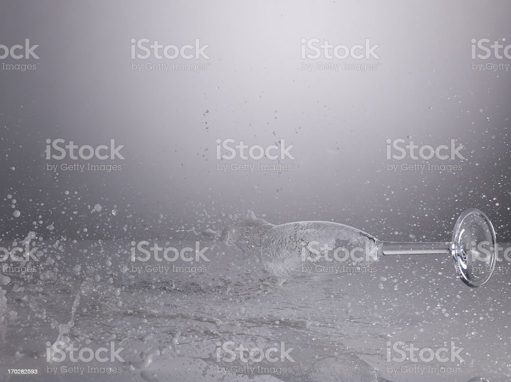 Champagne glass and splashing liquid royalty-free stock photo