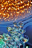 Champagne glass tower in wedding ceremony