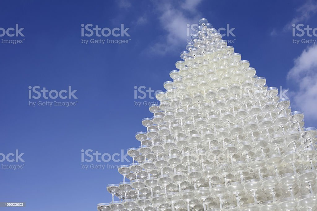 champagne glass tower stock photo