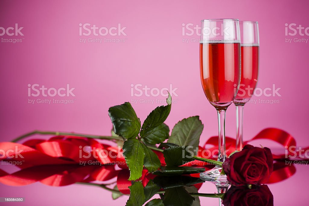 Champagne glass with rose sparkling wine royalty-free stock photo