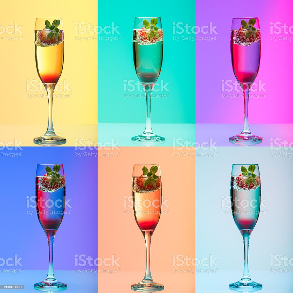 Champagne glass with strawberry, studio shot with light effects stock photo