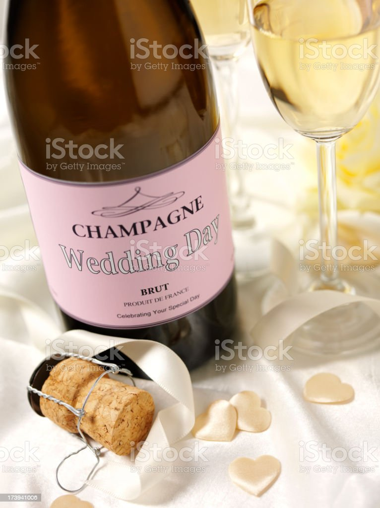 Champagne Glasses and Bottle royalty-free stock photo