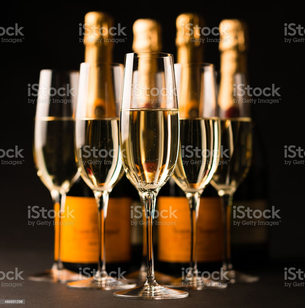 Champagne Glasses and Bottles stock photo