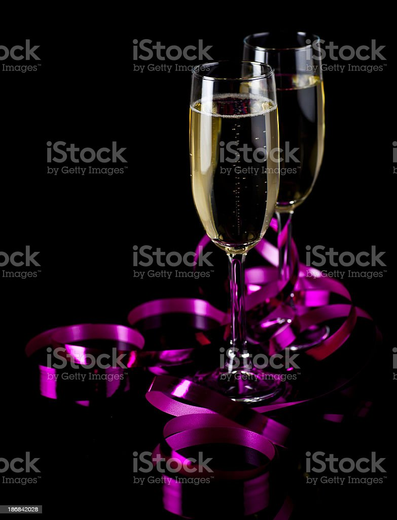 Champagne glasses and cork royalty-free stock photo
