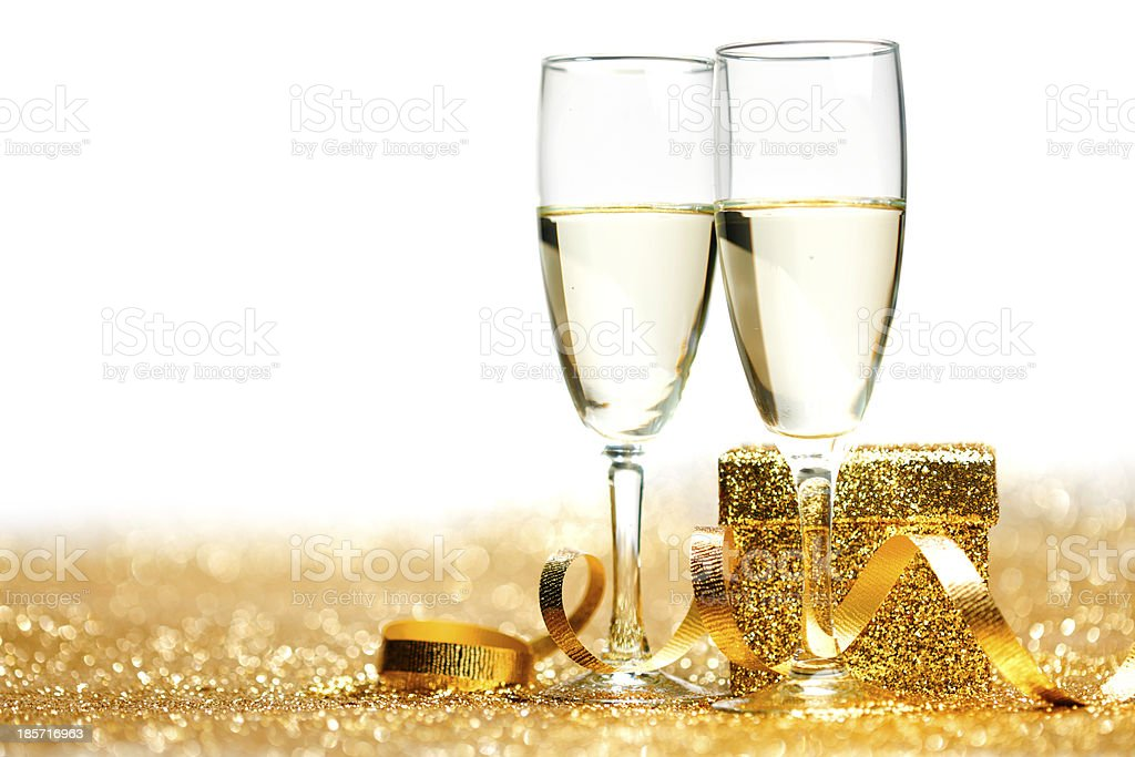 Champagne glasses and gift stock photo