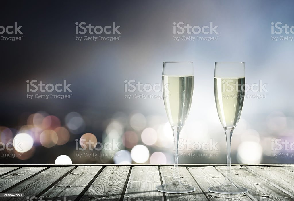champagne Glasses and night city stock photo