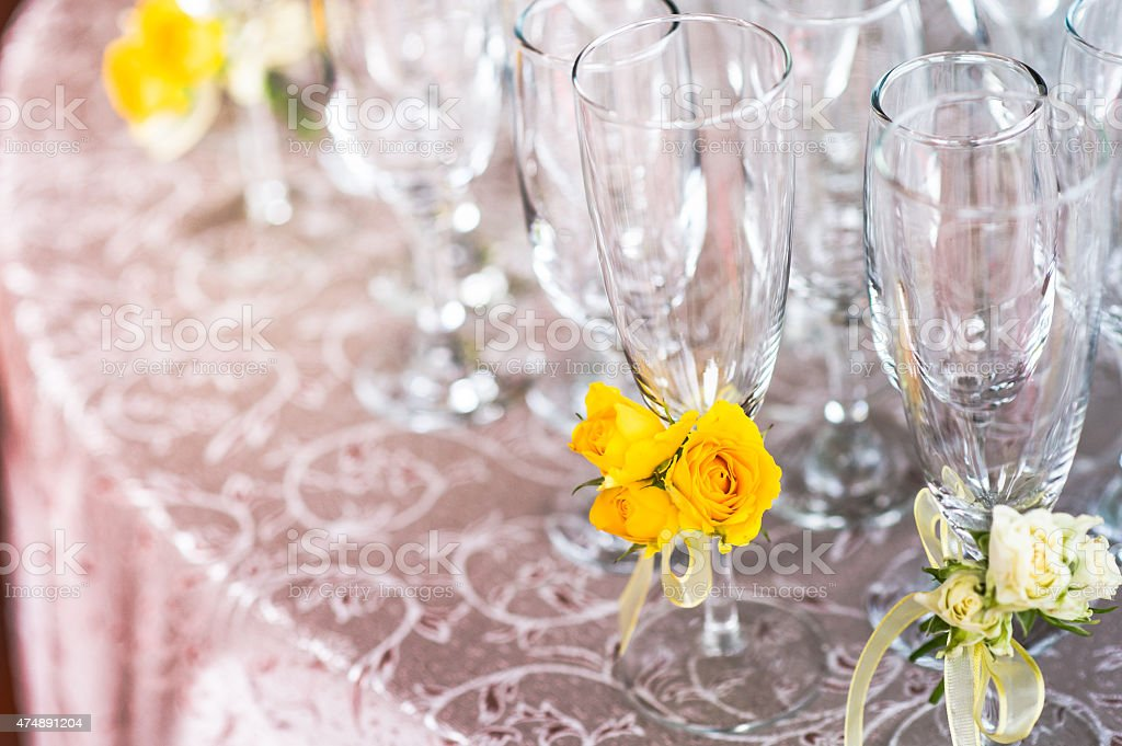 Champagne Glasses at a Wedding Ceremony stock photo