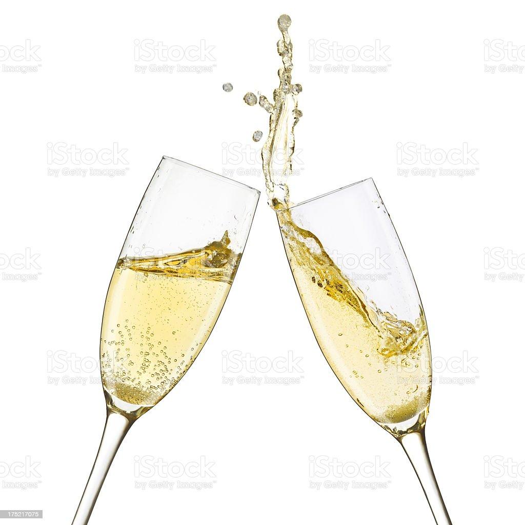 Champagne Glasses Splash stock photo