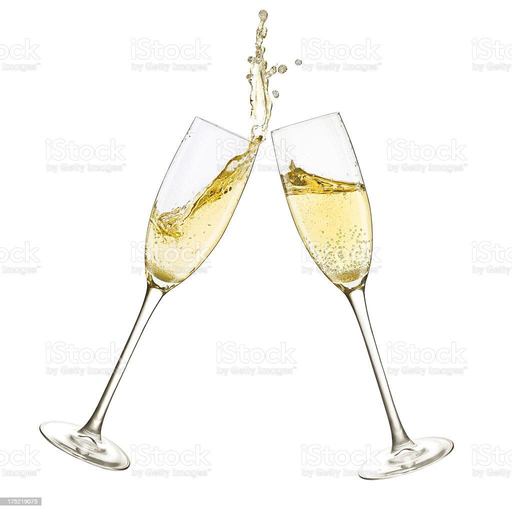 Champagne Glasses Splash royalty-free stock photo