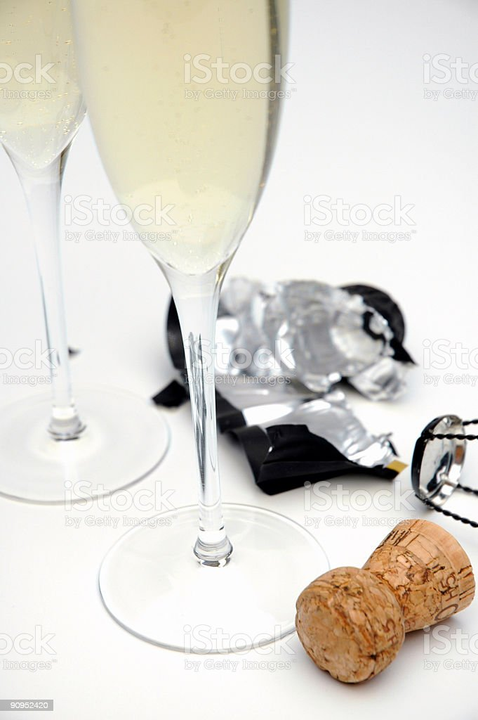 Champagne glasses with cork royalty-free stock photo