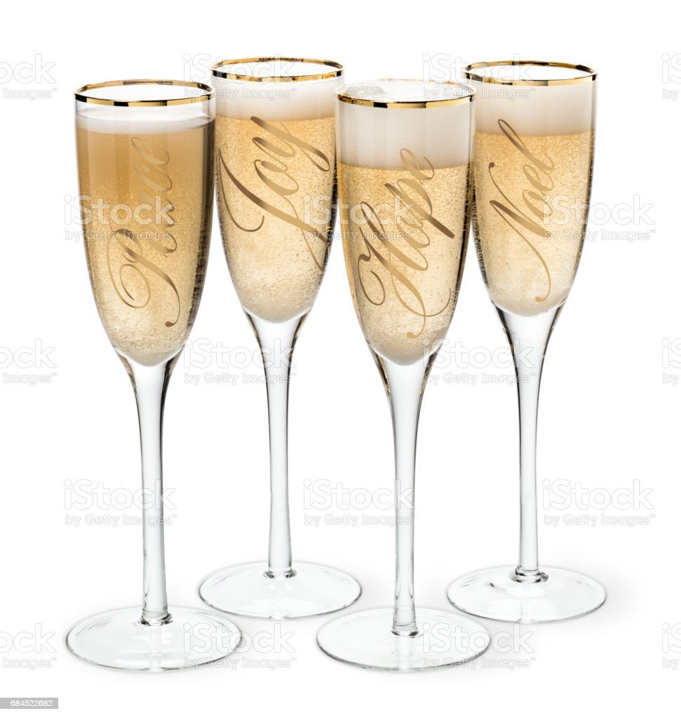 Champagne glasses with gold lettering stock photo