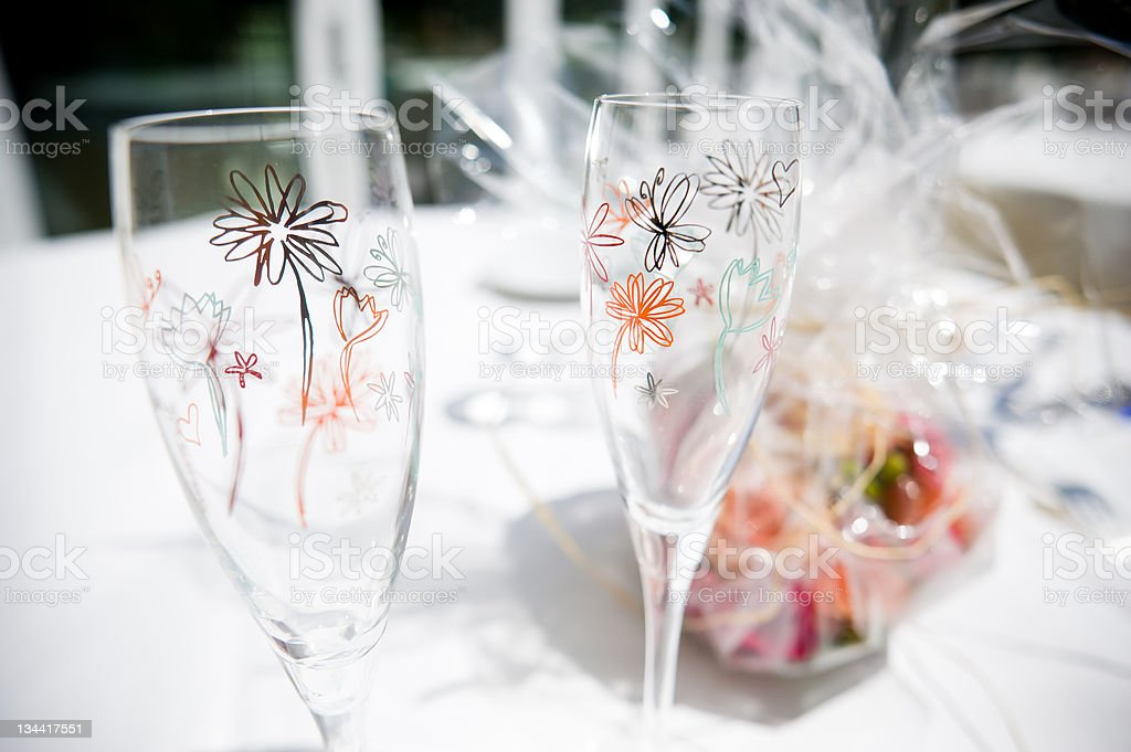 Champagne Glasses with Handpainted Design stock photo