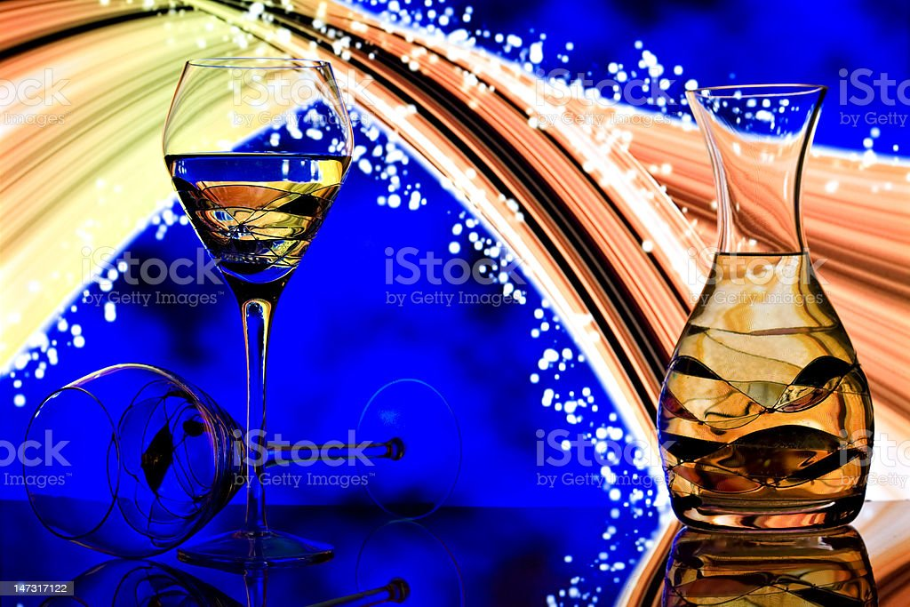 Champagne glasses with neon rainbow background royalty-free stock photo