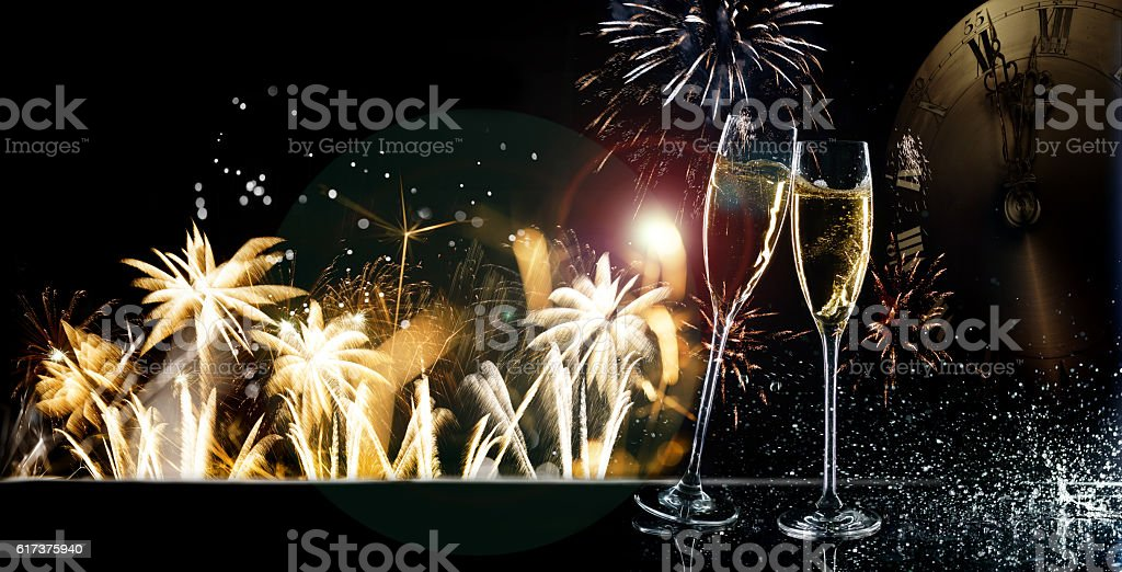 Champagne Glasses With Sparkler Happy New Year 2017 stock photo
