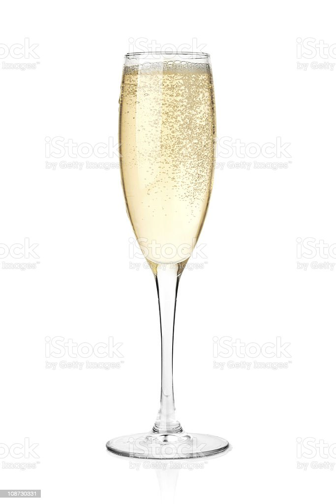 Champagne in a glass stock photo