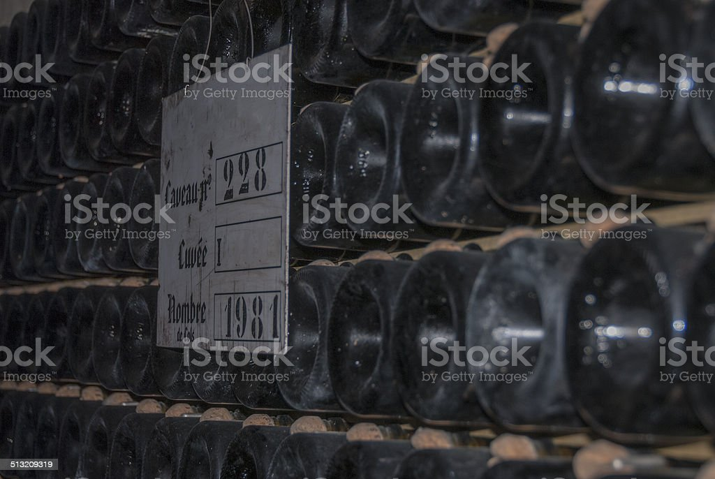 Champagne in Bottles Ageing stock photo