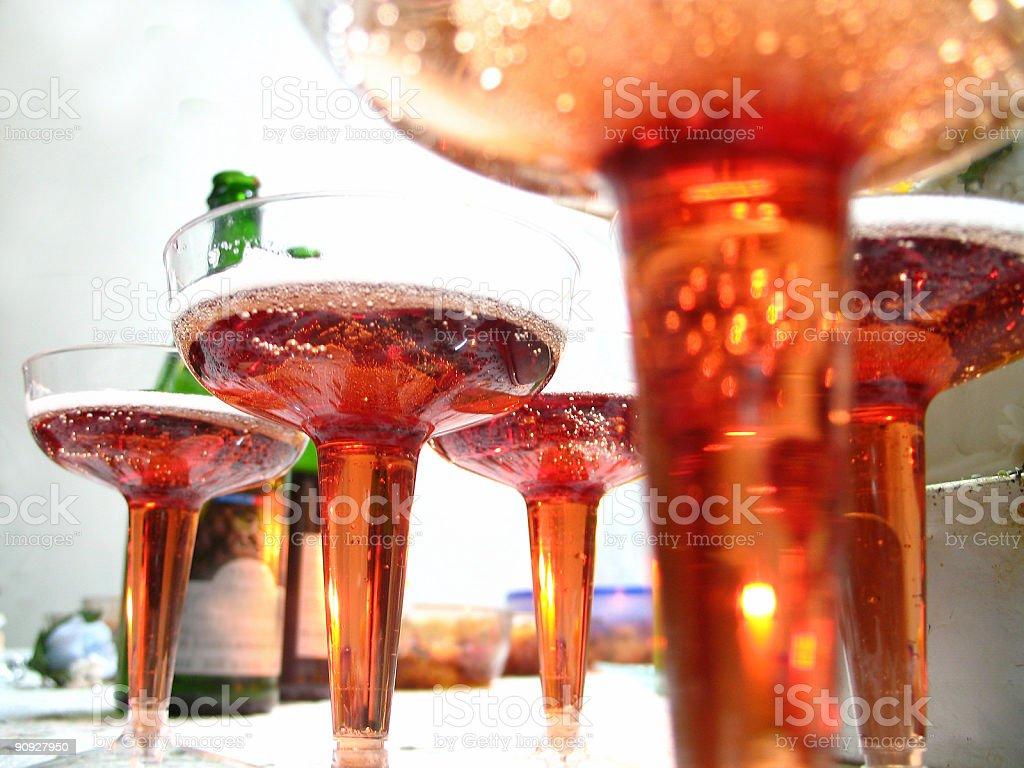 champagne in glasses stock photo