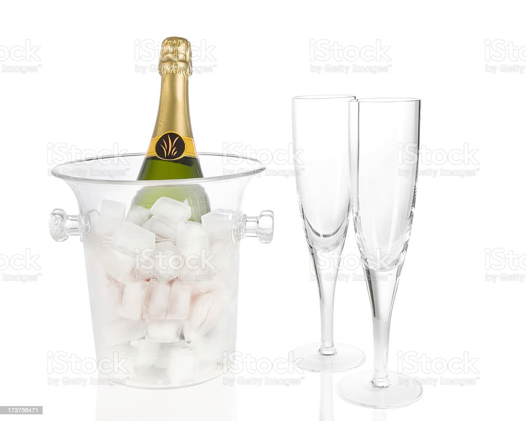 champagne in ice bucket royalty-free stock photo