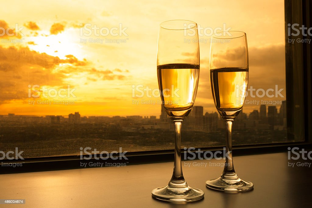 Champagne in the city stock photo