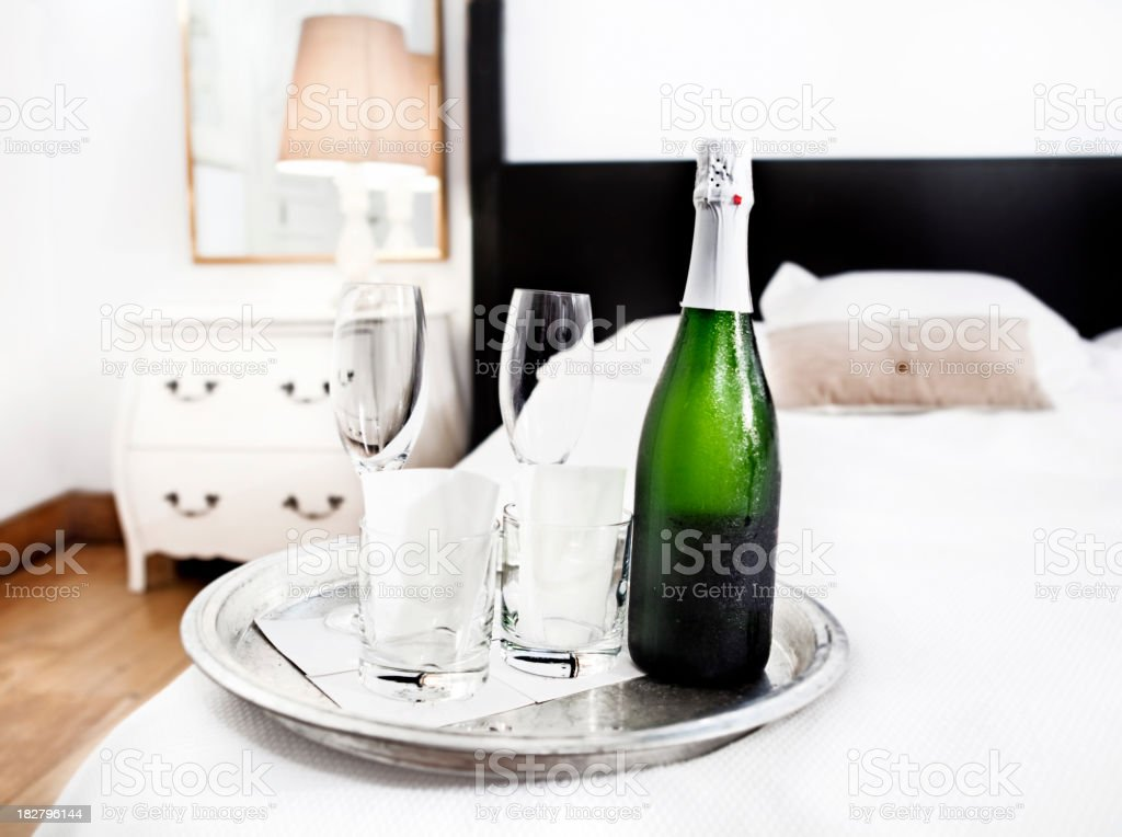 Champagne in the hotel royalty-free stock photo