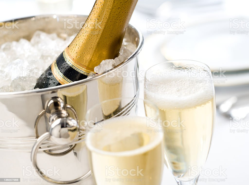 Champagne is served stock photo