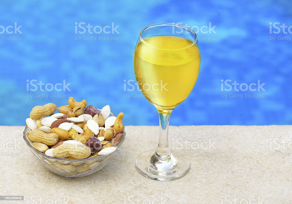 champagne & Nuts royalty-free stock photo