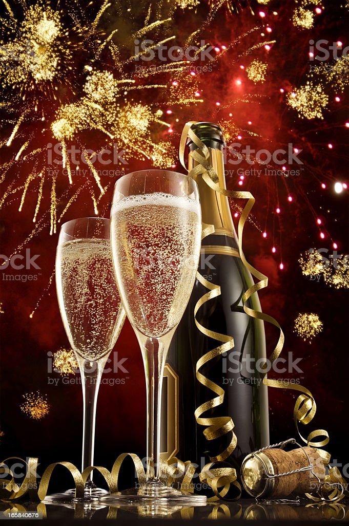Champagne on New Year's Eve royalty-free stock photo