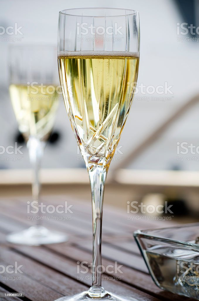 Champagne on the Yacht royalty-free stock photo
