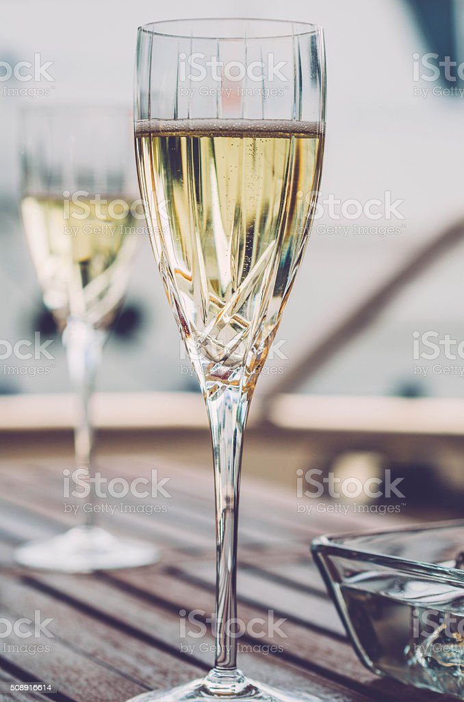Champagne on the Yacht stock photo