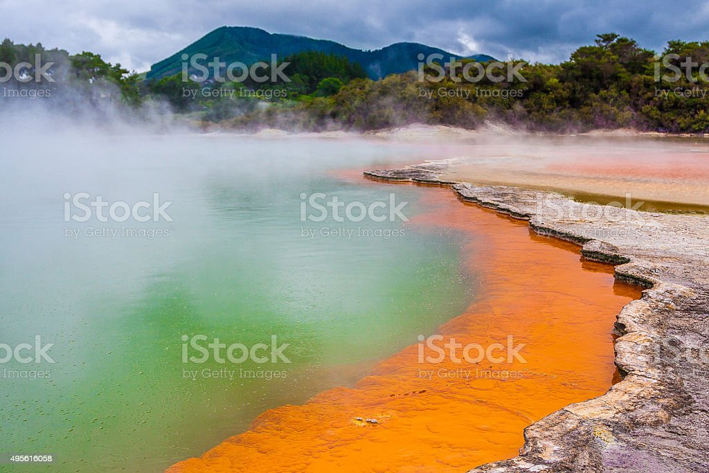 Champagne Pool in New Zealand stock photo