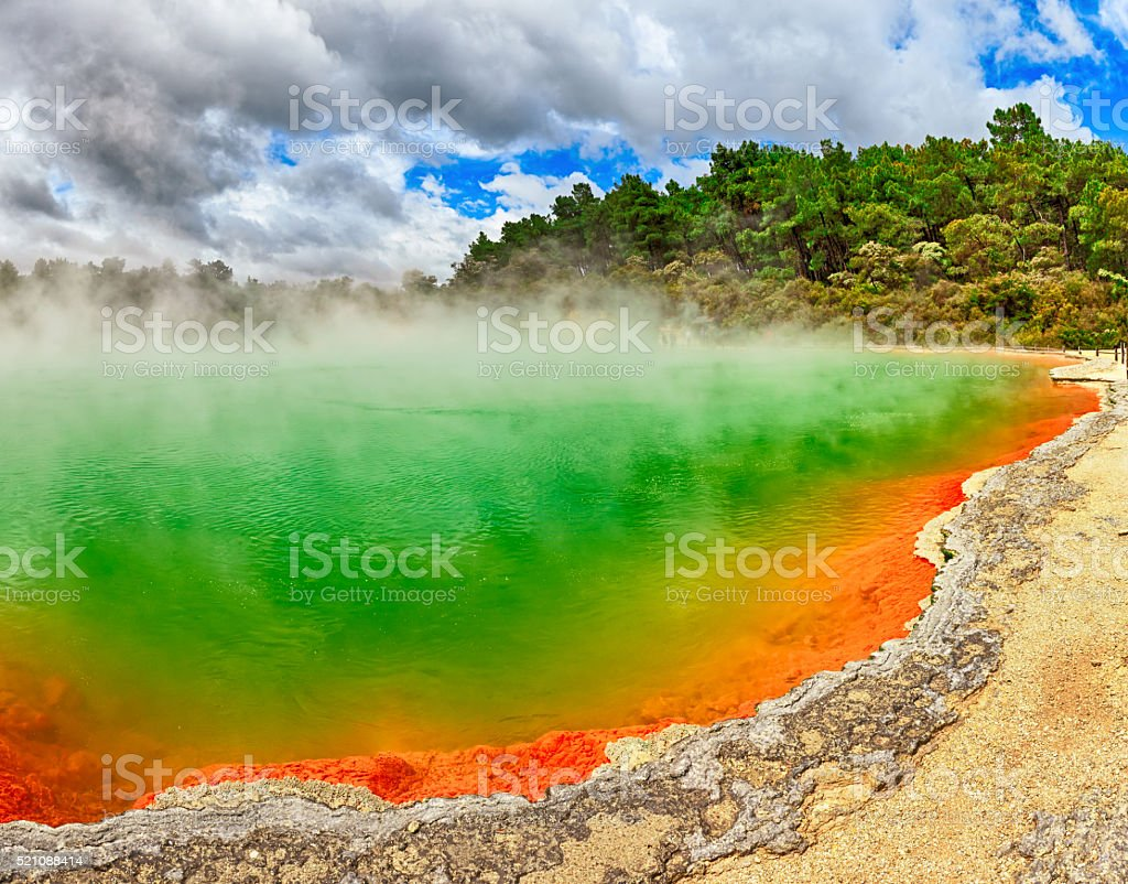 Champagne Pool, Rotorua, New Zealand stock photo