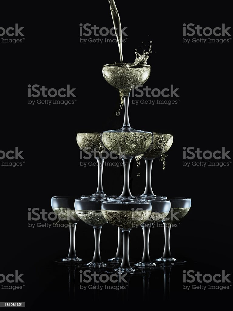 Champagne pyramid Splash stock photo