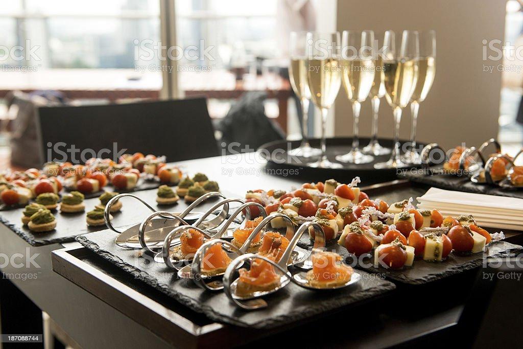 Champagne reception stock photo