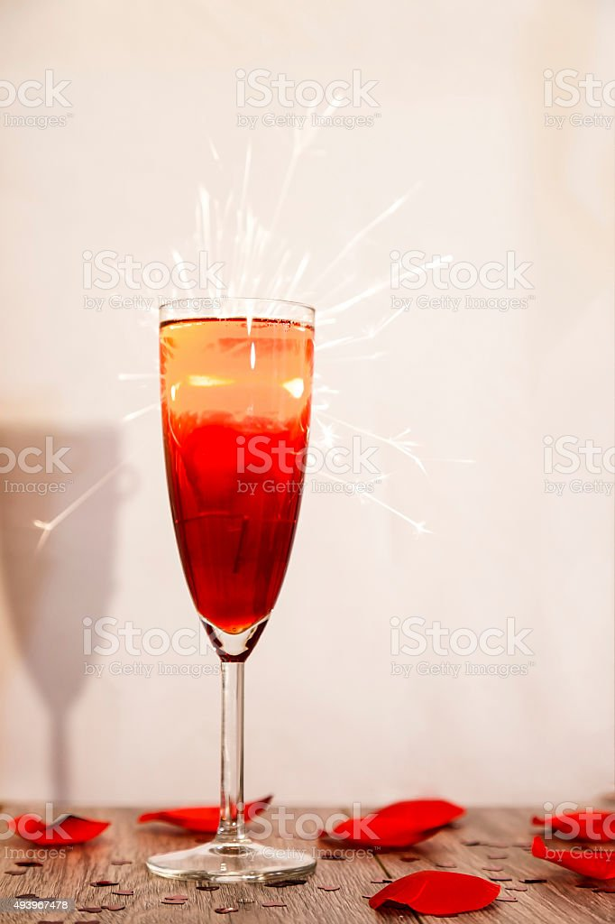 Champagne sparks stock photo