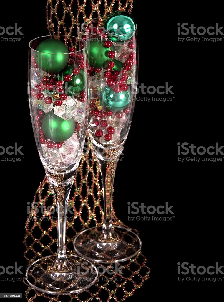 Champagne Stemware on Net royalty-free stock photo