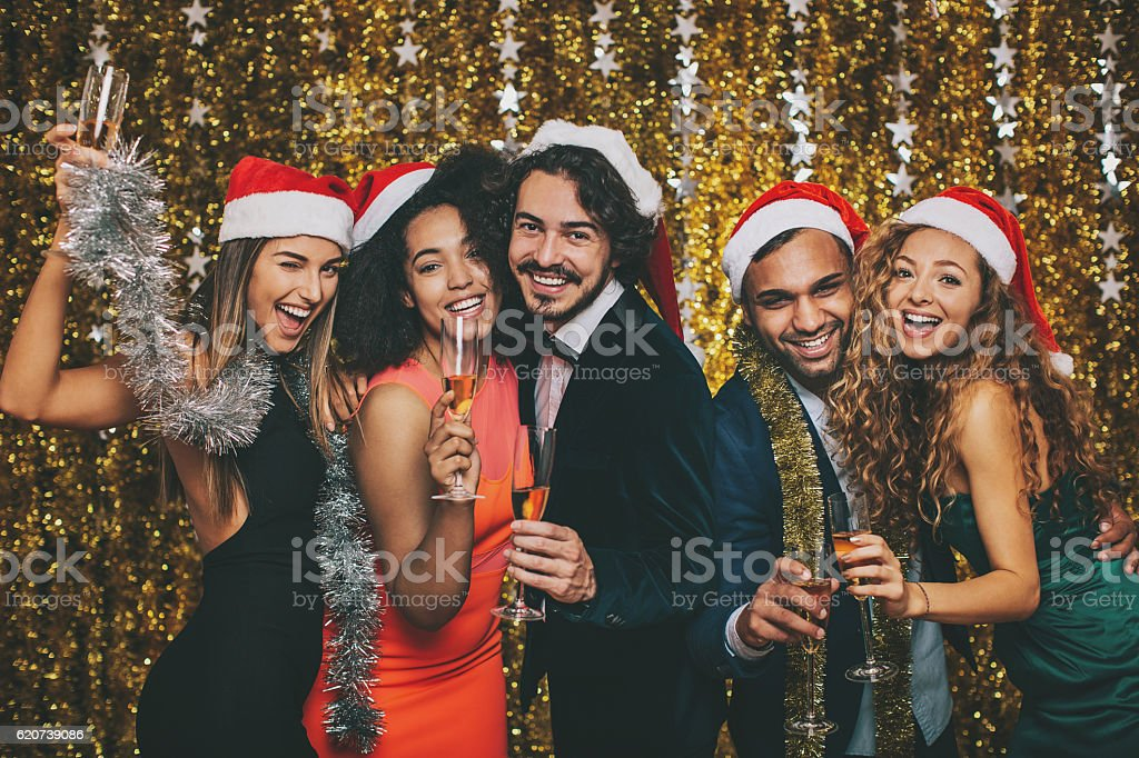 Champagne toast for New year stock photo