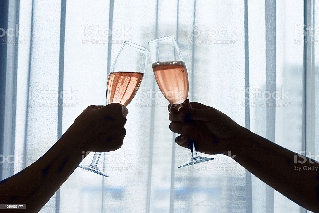 Champagne (Red Wine) Toast royalty-free stock photo