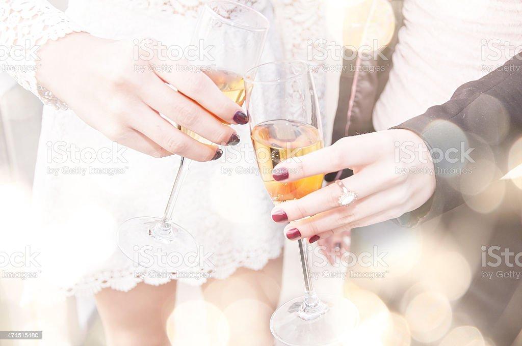 Champagne toast. stock photo