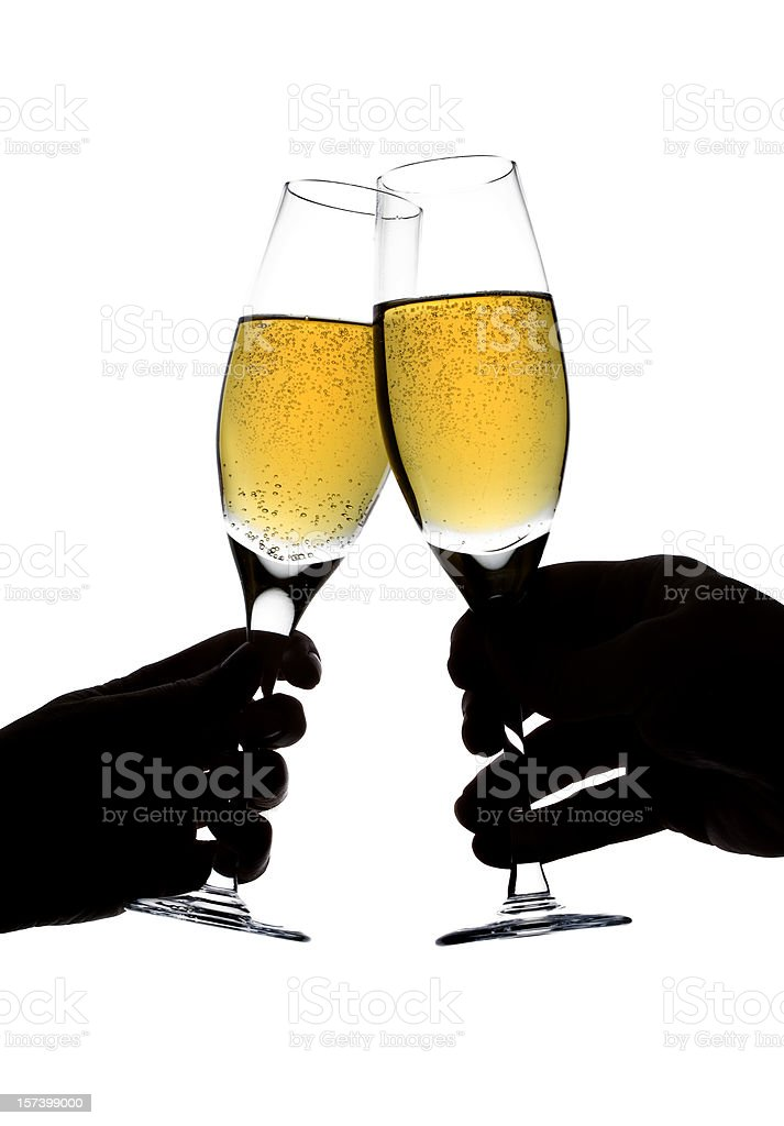 Champagne Toast w/Clipping Path royalty-free stock photo