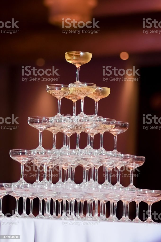 Champagne tower stock photo