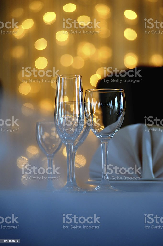 Champagne, wine, cognac (brandy) glass on background bokeh royalty-free stock photo