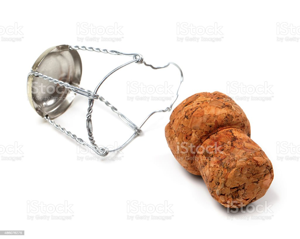 Champagne wine cork and muselet stock photo